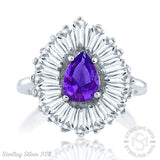 Mother's Day Gift Women's Sterling Silver .925 Ring with Purple Pear shaped center surrounded by 21 Tapered Baguette Cubic Zirconia (CZ) stones, High Polish, Appears indentical to platinum or gold