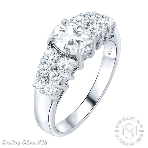 Women's Sterling Silver.925 Engagement Ring 1.3 Carat Center Cubic Zirconia (CZ) Stones, Platinum Plated