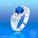 Mother's Day Gift Women's Sterling Silver .925 Ring with Blue Center Stone Surrounded by White Baguette Cubic Zirconia (CZ) Stones