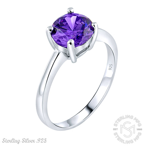 Mother's Day Gift Women's Sterling Silver .925 Solitaire Ring with a Purple Round Cubic Zirconia (CZ) stone, Platinum Plated.