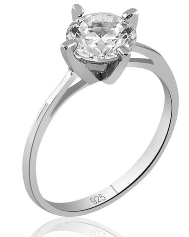Mother's Day Gift Women's Sterling Silver .925 Solitaire Ring with a White Round Cubic Zirconia (CZ) stone, Platinum Plated.