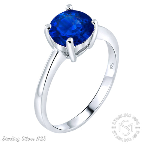 September Birthstone Women's Sterling Silver .925 Solitaire Ring with Blue Round shaped Cubic Zirconia (CZ) stones, Platinum Plated.