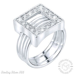 Mother's Day Gift Women's Sterling Silver .925 Designer Ring Featuring a Cubic Zirconia (CZ) Stone Encrusted Open Square and Ribbed Band, Platinum Plated