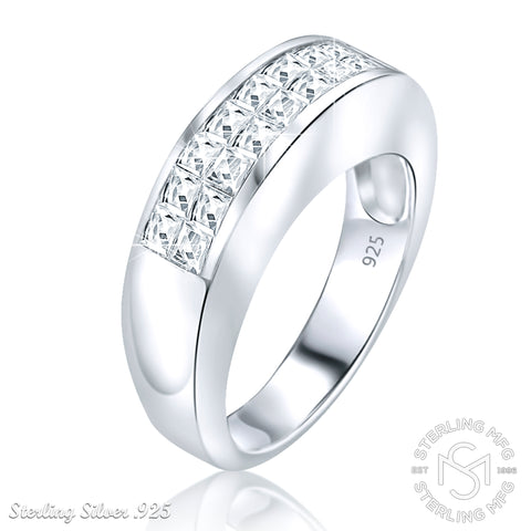 Women's Men's Unisex Sterling Silver .925 Designer Wedding Ring Band with Channel-Set Cubic Zirconia (CZ) Stones, Platinum Plated jewelry