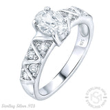 Mother's Day Gift Women's Sterling Silver .925 Zig-Zag Design Wedding Engagement Ring Featuring a Sparkling Oval Cubic Zirconia (CZ) Center Stone, Platinum Plated