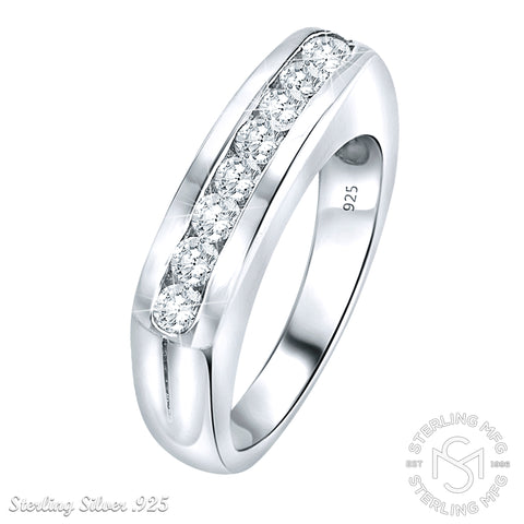 Women's Sterling Silver .925 Designer Ring Wedding Band Featuring Round Channel-set Cubic Zirconia (CZ) Stones, Platinum Plated jewelry
