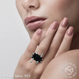 Women's Sterling Silver .925 Original Design Modern Art Deco Ring Featuring a Black Emerald Shaped Cubic Zirconia (CZ) Stone, Platinum Plated