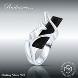 Women's Sterling Silver .925 Modern Fancy Design Ring Featuring a Black Elongated Rectangle Cubic Zirconia (CZ) Stone, Platinum Plated