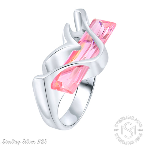 Women's Sterling Silver .925 Modern Fancy Design Featuring a Pink Elongated Rectangle Cubic Zirconia (CZ) Stone, Platinum Plated