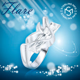 Women's Sterling Silver .925 Modern Fancy Design Ring Featuring a Clear Elongated Rectangle Cubic Zirconia (CZ) Stone, Platinum Plated