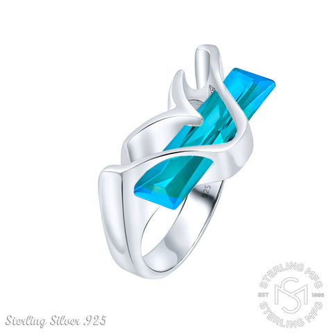 Women's Sterling Silver .925 Modern Fancy Design Ring Featuring a Light Blue Aquamarine Tone Elongated Rectangle Cubic Zirconia (CZ) Stone, Platinum Plated