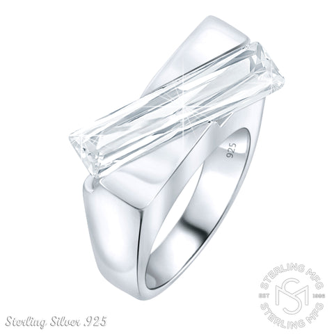 Mother's Day Gift Women's Sterling Silver .925 Absract Ring with Clear Rectangle Elongated Cubic Zironia (CZ) stone (s), Platinum Plated, Appears indentical to platinum or gold