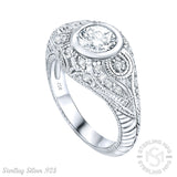 Mother's Day Gift Women's Sterling Silver .925 Cubic Zirconia Engraved Design Vintage Inspired Ring