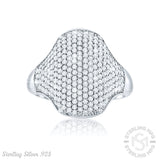 Mother's Day Gift Fancy Women's Sterling Silver .925 Designer Dome Ring Featuring Many Round Tiny Cubic Zirconia (CZ) Stones, Platinum Plated