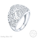 Women's Sterling Silver .925 Oval Ring 159 Round Tiny Cubic Zirconia (CZ) Stones, Platinum Plated jewelry