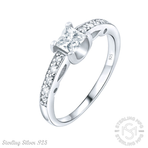 Women's Sterling Silver Elegant Engagement Ring with Princess-Cut Center Stone. Platinum Plated Jewelry