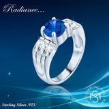 Women's Sterling Silver .925 Ring Blue Center Stone White Baguette Cubic Zirconia Stones Platinum Plated Jewellery