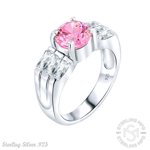 Mother's Day Gift Women's Sterling Silver .925 Ring with Pink Round Center and Side Baguette Cubic Zirconia (CZ) stones, High Polish, Appears indentical to platinum or gold
