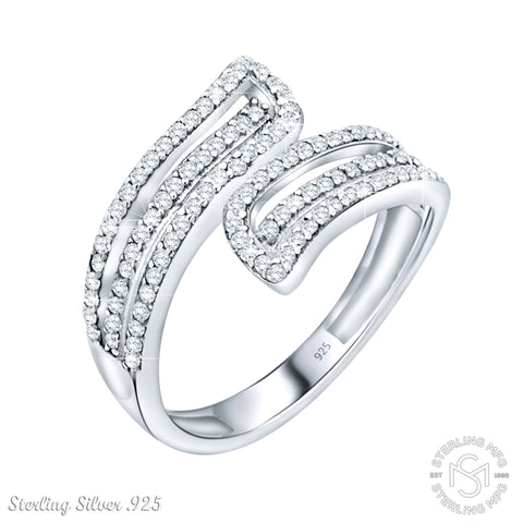 Fancy Women's Sterling Silver .925 Designer Ring with Many Tiny Round Cubic Zirconia (CZ) Stones, Platinum Plated