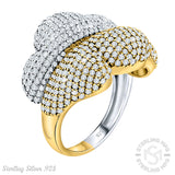 Mother's Day Gift Fancy Women's Two-Tone Sterling Silver .925 Gold Color Statement Party Ring Decked Out with Many Tiny Cubic Zirconia (CZ) Stones