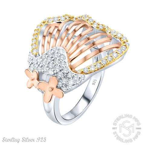 Fancy Women's 3-Tone Sterling Silver .925 Rose Gold Designer Sea Shell Mermaid's Ring Featuring 80 Cubic Zirconia (CZ) Stones