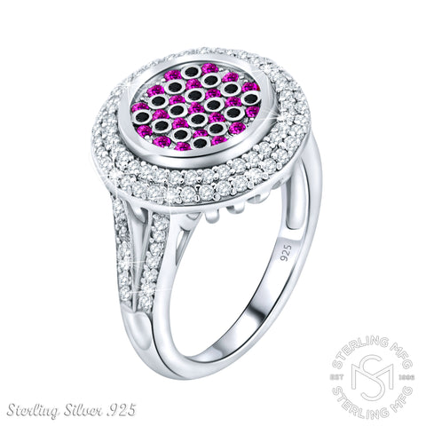 Mother's Day Gift Women's Sterling Silver .925 Designer Ring Featuring 133 Sparkling Orchid Pink, Jet Black, and White Cubic Zirconia (CZ) Stones, Platinum Plated