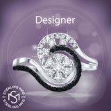 Mother's Day Gift Women's Fancy Sterling Silver .925 Abstract Swirl Design Ring Featuring 50 Simulated Black and White Diamond Stones, Platinum Plated