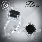 Women's Elegant Sterling Silver .925 Designer Ring Featuring a Jet Black Princess Cut Stone Surrounded by 45 Sparkling Cubic Zirconia (CZ) Stones, Platinum Plated