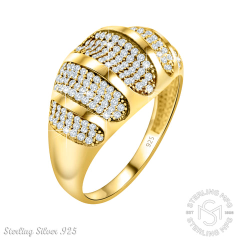 Mother's Day Gift Fancy Women's Two-Tone Sterling Silver .925 Gold Designer Ring with Many Tiny Cubic Zirconia (CZ) Stones