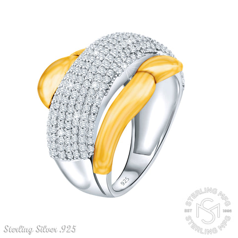 Mother's Day Gift Fancy Women's Two-Tone Sterling Silver .925 Gold Designer Cocktail Ring with Many Tiny Cubic Zirconia (CZ) Stones, Platinum Plated