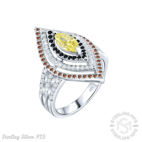 Mother's Day Gift Women's Sterling Silver .925 Marquise Designer Ring Featuring 127 Cocoa Brown, Jet Black, White, and Light Canary Cubic Zirconia (CZ) Stones, Platinum Plated