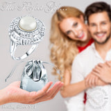 Women's Sterling Silver .925 Fashion Pearl Fancy Cocktail Ring Featuring 59 Sparkling Various Cubic Zirconia (CZ) Stones, Platinum Plated
