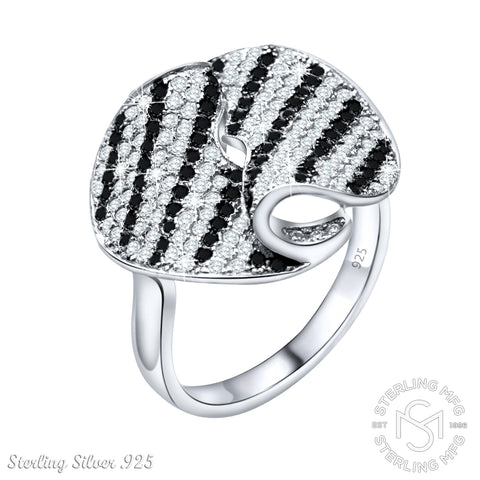 Mother's Day Gift Women's Sterling Silver .925 Fancy Fold Stripe Ring with Black and White Cubic Zirconia (CZ) Stones, Platinum Plated