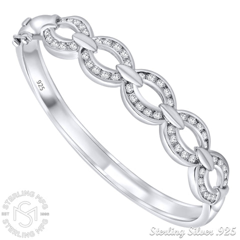 "Mother's Day Gift Women's Linked Design Sterling Silver .925 Bangle Bracelet with Round Cubic Zirconia Stones, Platinum Plated 7"" By Sterling Manufacturers"