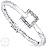 "Women's Sterling Silver .925 Unique Square Design Solid Sterling Silver Bangle Bracelet with Cubic Zirconia Stones, Platinum Plated, 7"" By Sterling Manufacturers"