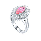 Mother's Day Gift Women's Sterling Silver .925 Ring with Pink Marquise Center Surrounded by 21 Tapered Baguette Cubic Zirconia (CZ) stones, High Polish