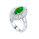 Mother's Day Gift Women's Sterling Silver .925 Ring with Green Marquise Center Surrounded by 21 Tapered Baguette Cubic Zirconia (CZ) stones, High Polish, Appears indentical to platinum or gold