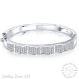 "Mother's Day Gift Women's Sterling Silver .925 Bangle Bracelet with Channel-Set Princess-Cut Cubic Zirconia Stones, Platinum Plated, 7"" By Sterling Manufacturers"
