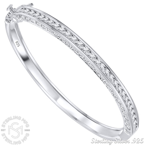 "Mother's Day Gift Women's Glamorous Sterling Silver .925 Sterling Silver Bangle Bracelet with Cubic Zirconia Stones Set on 3 Sides, 7"" By Sterling Manufacturers"