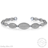 Sterling Manufacturers 925 Sterling Silver Brushed & Polished Sandblasted Stardust Oval Bead Bangle Bracelet