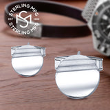 Mens Sterling Silver .925 Round Circle Cufflinks with Striped Satin Finish, Engravable,14mm. Made In Italy. By Sterling Manufacturers