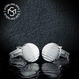 Men's Sterling Silver .925 Round Engravable Cufflinks with Satin Finish Center and Striped Design. Made In Italy. 15mm