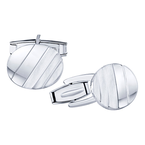 Men's Sterling Silver .925 Oval Striped Design Cufflinks with Satin Finish. Made In Italy. By Sterling Manufacturers