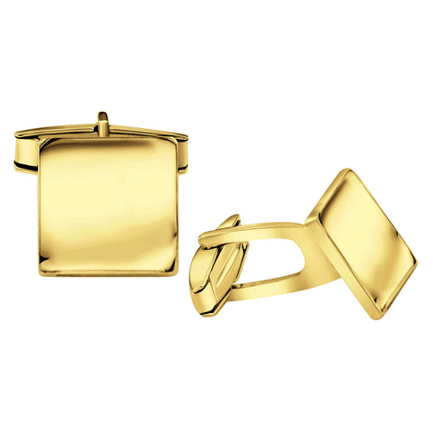 Men's Sterling Silver .925 Square Cufflinks, Italian Designed and Made, High Polished by Hand, Elegant Design, Secure Solid Hinges, Sleek and Stunning. Engravable, measuring 14mm