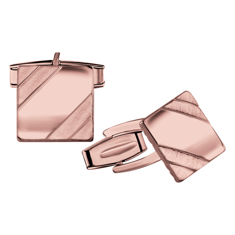 Men's Sterling Silver .925 Square Cufflinks with Satin Finish Accents in Two Corners, Engravable. Made In Italy. 14mm