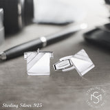 Men's Sterling Silver .925 Engravable Square Cufflinks Satin Finish Accents 14mm, Made in Italy. By Sterling Manufacturers