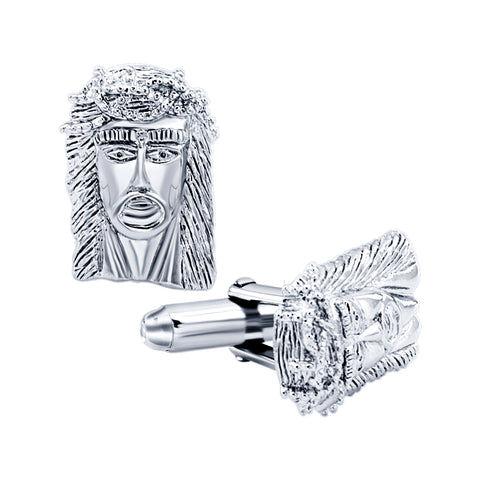 Men's Sterling Silver .925 Jesus Face Cufflinks 17mm by 13mm