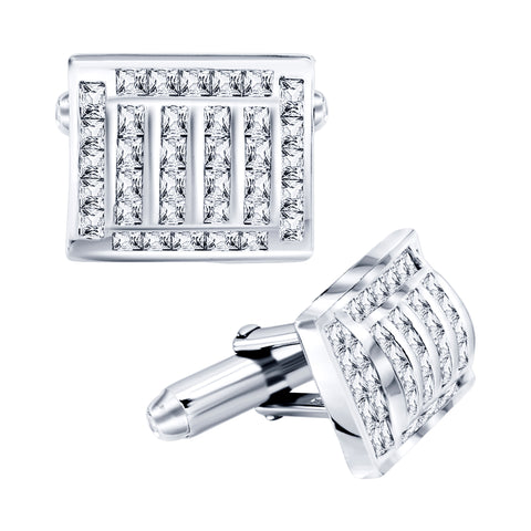 Men's Sterling Silver .925 Cufflinks with Princess-Cut Cubic Zirconia Stones, Platinum Plated, 17mm by 13mm. By Sterling Manufacturers