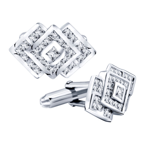 Men's Sterling Silver .925 Cufflinks with Cubic Zirconia CZ Stones, 22mm by 15mm. By Sterling Manufacturers