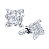 Men's Sterling Silver .925 Cufflinks with Princess-Cut Cubic Zirconia Stones 16mm. By Sterling Manufacturers